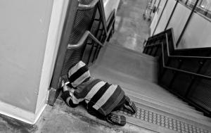 Casser La Croûte En Haut Des Escaliers